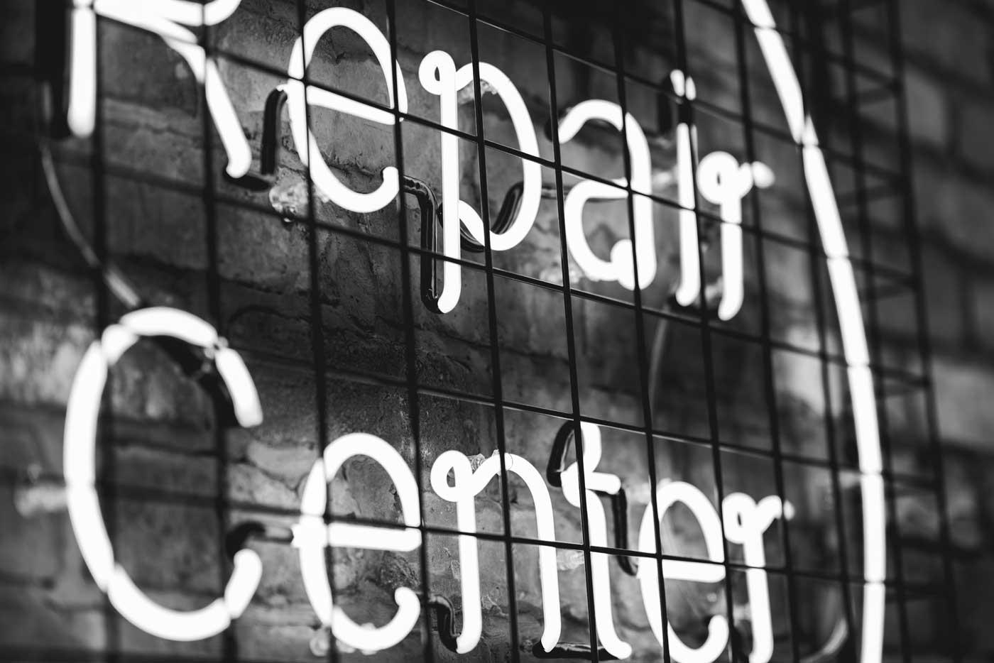 Repair center neon sign.