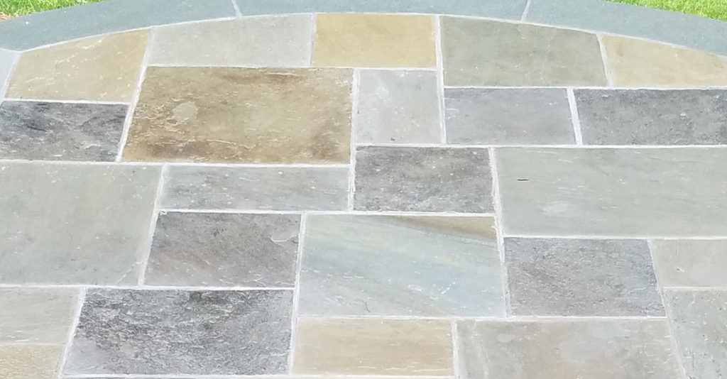Repaired mortar cracks in flagstone